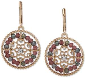 lonna & lilly Gold-Tone Pave & Bead Openwork Drop Earrings