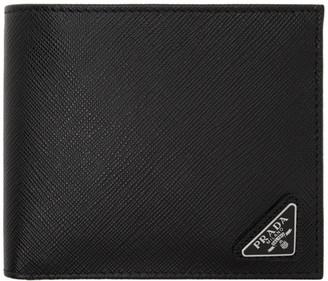 Prada Black Saffiano Triangle Bifold Wallet