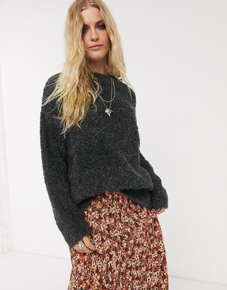 Topshop boucle jumper in grey