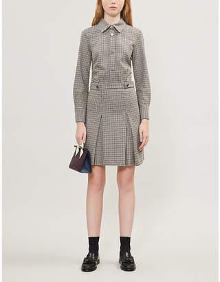 Maje Houndstooth check wool-blend dress
