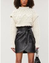 BA&SH Luna high-waisted leather mini wrap skirt