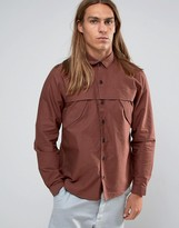Asos Military Shirt In Rust With Storm Flaps And Long Sleeves In Regular Fit