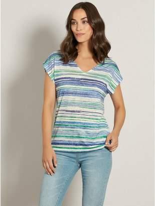 M&Co Stripe lace back t-shirt