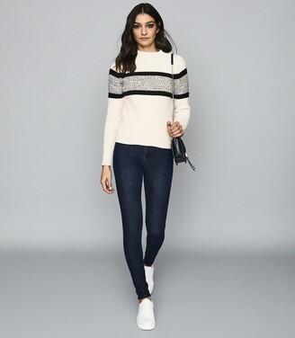 Reiss Alanna - Colour Block Knitted Jumper in Black/white