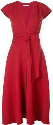 Oscar de la Renta belted flared dress