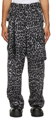 Sacai Grey and Black Wool Leopard Solid Shrivel Trousers
