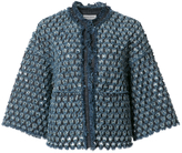 Sonia Rykiel Laser Cut Denim Crop Jacket