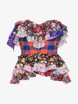 Natasha Zinko strapless floral check print ruffle cotton top