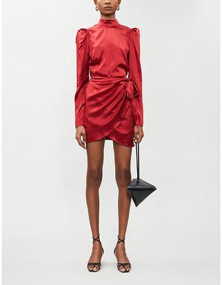 Reformation Josefine puffed-sleeve silk-satin mini dress