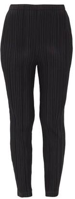Pleats Please Issey Miyake Technical-pleated Slim-leg Trousers - Black