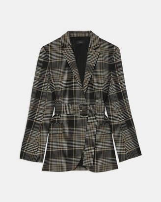Theory Belted Blazer in Plaid Wool