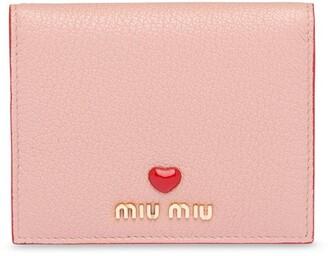 Miu Miu heart appliqué compact wallet