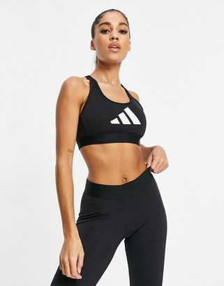 adidas Training 3 bar logo racer back bra in black