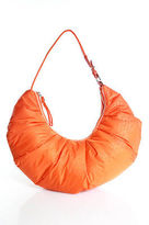 Folli Follie Orange Nylon Pleated Shoulder Handbag