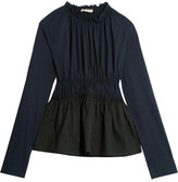 Marni Gathered Cotton-jersey And Poplin Top - Midnight blue