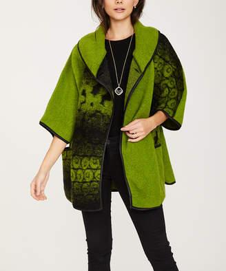 Ornella Paris Women's Overcoats - Green Faded-Geo Wool-Blend Three-Quarter Sleeve Coat - Women & Plus