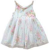 Honeydew Blue & Pink Floral A-Line Dress - Girls
