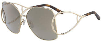 Chloé Jackson Square Oversized Mirrored Sunglasses