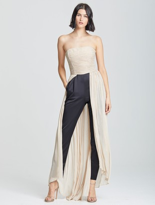 Halston Dramatic Pleated Jumpsuit