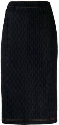 Fendi stitched pattern denim skirt