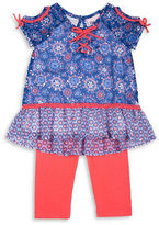 Little Lass Girls 2-6x Two-Piece Printed Lattice Top and Leggings Set