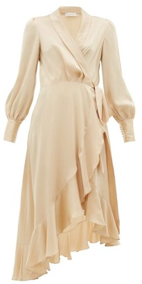 Zimmermann Super Eight Silk Wrap Midi Dress - Beige