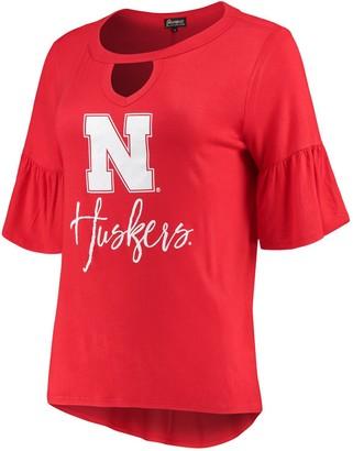 Unbranded Women's Scarlet Nebraska Cornhuskers Ruffle And Ready Keyhole Tri-Blend 3/4-Sleeve T-Shirt