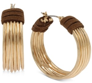 Robert Lee Morris Soho Gold-Tone Medium Suede-Wrapped Multi-Wire Hoop Earrings, 1.25""