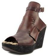 Free People Vachetta Rose Open Toe Leather Wedge Sandal.