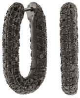 Selim Mouzannar Black Diamond Link Hoop Earrings