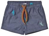 Paul Smith Blue Dinosaur Chambray Shorts