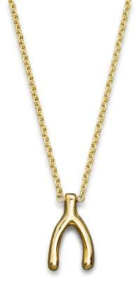 """Chicco Zoë 14K Yellow Gold Small Wishbone Necklace, 16"""""""