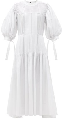 Jil Sander Pintucked Cotton Maxi Dress - White