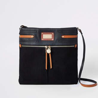 River Island Black contrast trim messenger bag