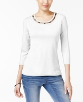 Karen Scott Petite Cotton Lattice-Neck Top, Created for Macy's