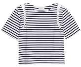 A.L.C. Lattice-Trimmed Striped Cotton-Jersey Top