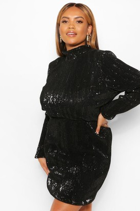 boohoo Plus Sequin High Neck Bodycon Dress