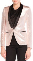 Saint Laurent Shawl-Collar Lamé Jacket, Rose Gold