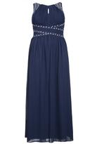 Quiz Curve Navy Chiffon Embellished Keyhole Maxi Dress