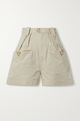 Etoile Isabel Marant Palino Suede-trimmed Cotton Shorts - Beige