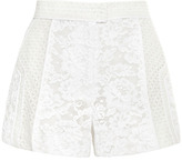 J. Mendel Paneled Mixed Lace Flat-Front Short