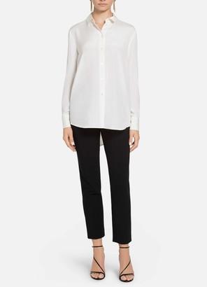St. John Stretch Silk Shirt Collar Blouse