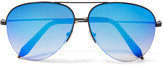 Victoria Beckham Aviator-style Metal Mirrored Sunglasses - Blue