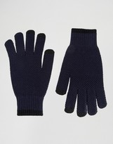 Asos Textured Gloves In Navy