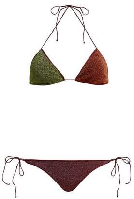 Oseree Lumiere Two-tone Metallic Triangle Bikini - Womens - Green Multi