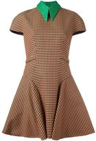 DELPOZO short sleeve checked dress - women - Viscose/Virgin Wool - 34