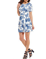 Copper Key Large Floral Print Short-Sleeve A-Line Dress