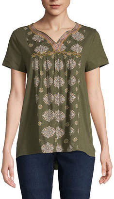 ST. JOHN'S BAY Womens Y Neck Short Sleeve Embroidered Blouse