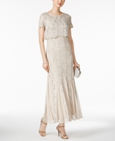 R & M Richards Petite Sequined Lace Popover Gown