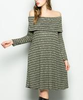 Sweet Pea Olive Stripe Pocket Off-Shoulder Dress